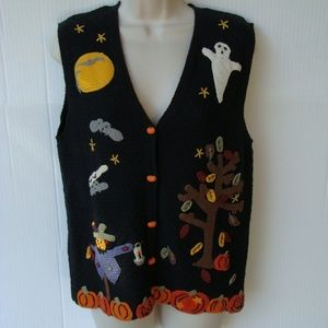 Lord & Taylor black Halloween crochet vest